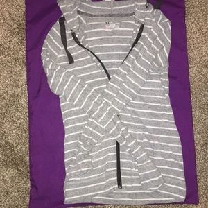 Small under armor hoodie grey and white